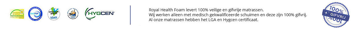 Matrassen van Royal Health Foam hebben alle nodige certificaten